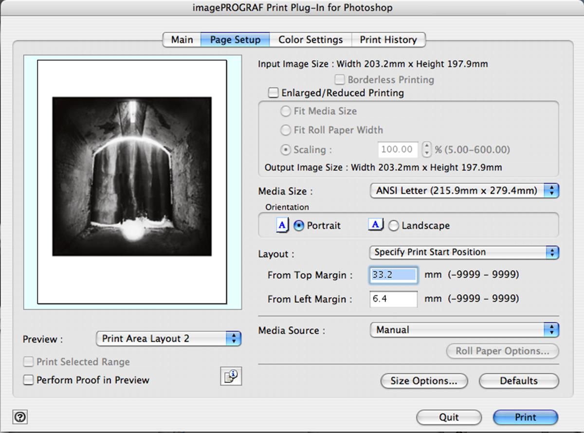 Canon Print Plugin Page Setup Window